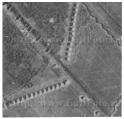 Anti-Tank trench on the German Luftwaffe Aerial Reconnaissance photogtaph, scale ~1:15000.